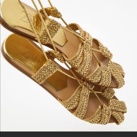 Zara Gold Gladiator lace up sandals